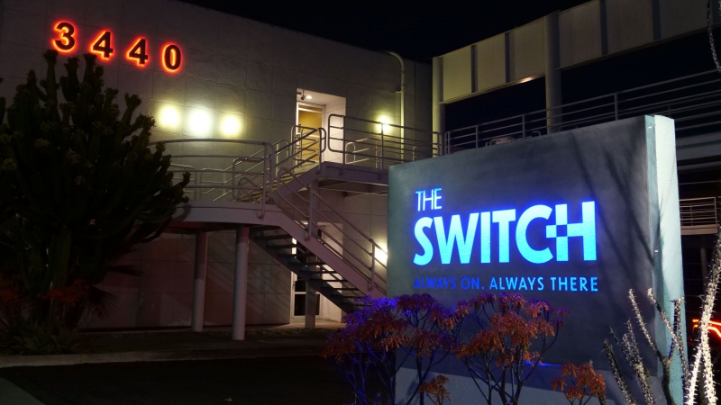The Switch Live Production Studios Los Angeles Sign Nightime