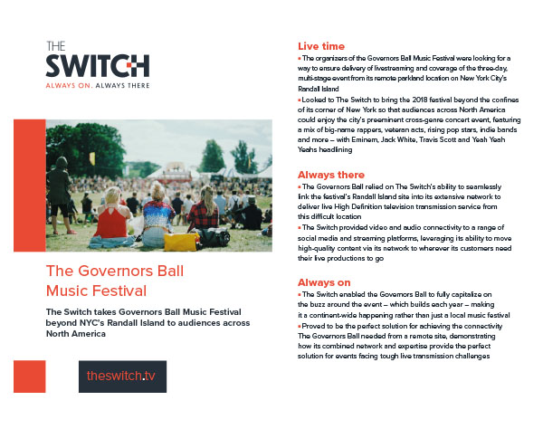 The Switch Case Studies - The Governors Ball Music Festival